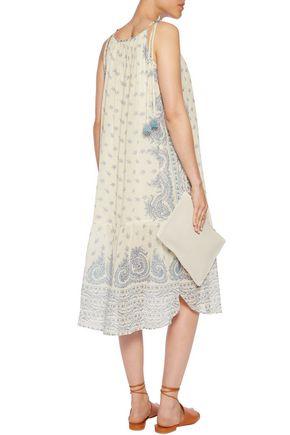 SEA Positano tasseled printed crinkled cotton and silk-blend midi dress