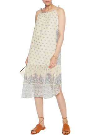 SEA Positano tasseled printed crinkled cotton and silk-blend midi dress