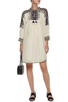 SEA Sarafan fringed embroidered cotton-muslin tunic