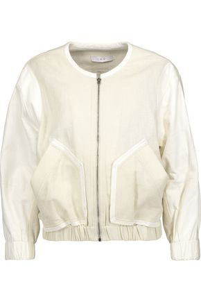 IRO Miles leather-trimmed cotton-blend jacket
