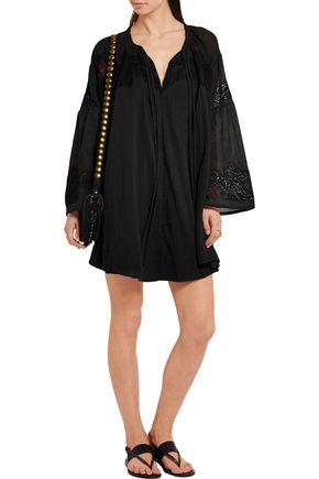 IRO Antonia pointelle-paneled crinkled cotton-voile mini dress