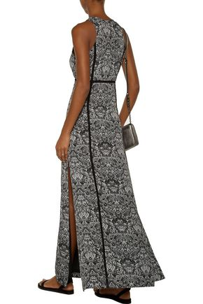 IRO Ridge open knit-trimmed printed crepe de chine maxi dress