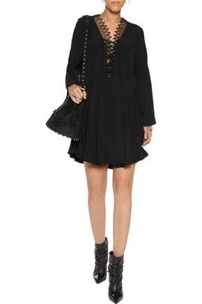 IRO Tiana lace-up lace-trimmed crepe de chine mini dress