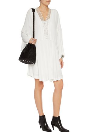 IRO Tiana lace-trimmed crepe mini dress
