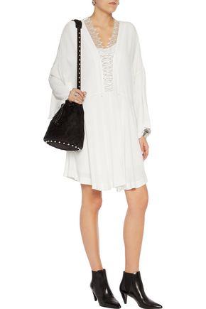 IRO Tiana lace-trimmed crepe mini dress