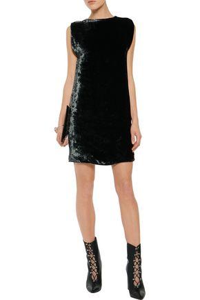 Acne Studios Dress ACNE STUDIOS WOMAN ROZENNE VELVET MINI DRESS DARK GREEN