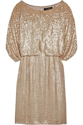 JENNY PACKHAM Cape-effect sequined silk mini dress