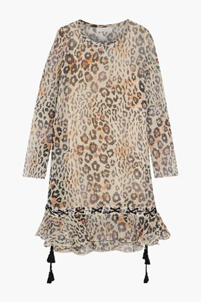 CHLOÉ Lace-up ruffled leopard-print cotton-blend gauze dress