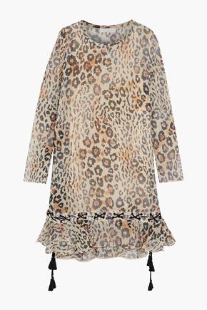 CHLOÉ Lace-up ruffled leopard-print cotton-blend gauze dress