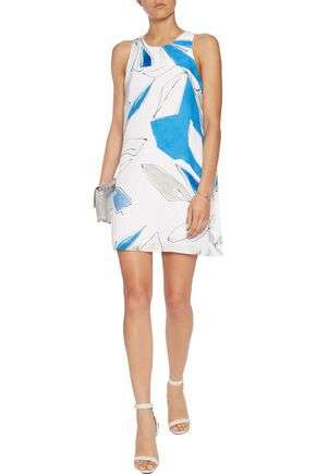 MILLY Trapeze printed silk-crepe mini dress