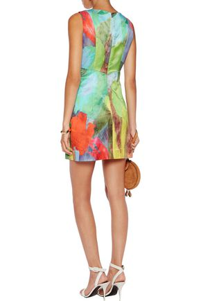MILLY Printed cotton and silk-blend dress