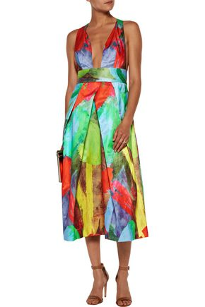 MILLY Elisa pleated printed cotton and silk-blend satin midi dress