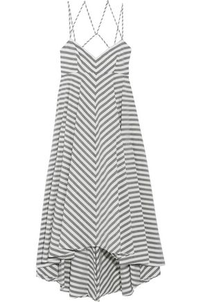 MILLY Asymmetric striped cotton-blend midi dress