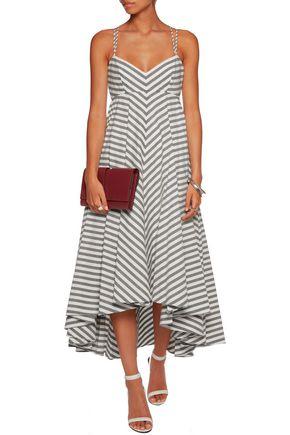 MILLY Asymmetric striped cotton-blend midi dress