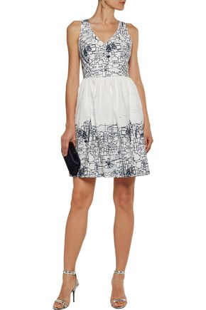 MILLY Isadora pleated printed cotton-blend dress