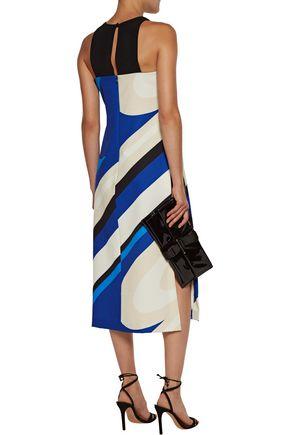 MILLY Layered printed crepe midi dress