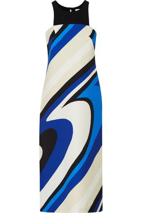 MILLY Layered printed crepe midi dress