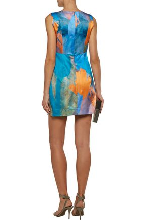MILLY Printed cotton and silk-blend mini dress