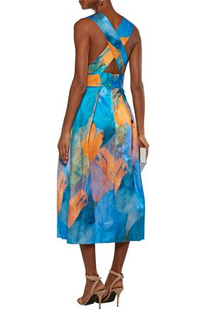 MILLY Elisa pleated printed cotton and silk-blend midi dress