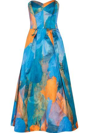 MILLY Ava strapless printed cotton and silk-blend midi dress