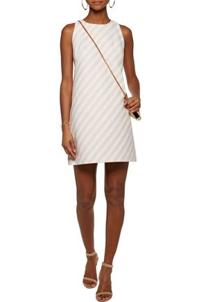 MILLY Striped cotton-blend faille mini dress