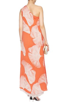 HALSTON HERITAGE One-shoulder asymmetric printed crepe gown