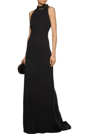 HALSTON HERITAGE Embellished cutout crepe gown