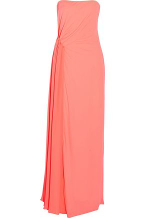 HALSTON HERITAGE Strapless gathered crepe-jersey gown