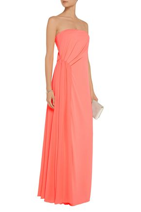 HALSTON HERITAGE Gathered crepe-jersey gown