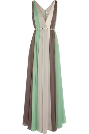 HALSTON HERITAGE Striped crinkled-chiffon gown