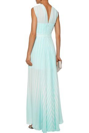 HALSTON HERITAGE Twisted striped chiffon gown