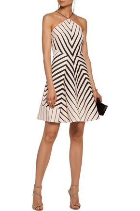 HALSTON HERITAGE Striped twill mini dress
