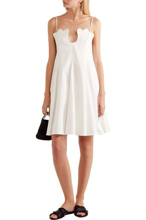 PAPER London Scala scalloped crepe de chine mini dress