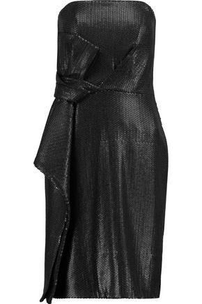 HALSTON HERITAGE Bow-embellished sequinned crepe mini dress