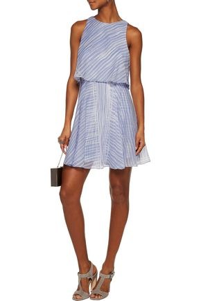 HALSTON HERITAGE Layered printed silk-chiffon mini dress