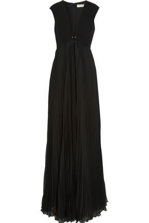 HALSTON HERITAGE Crepe-paneled plissé-chiffon gown
