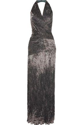 HALSTON HERITAGE Wrap-effect plissé chiffon gown