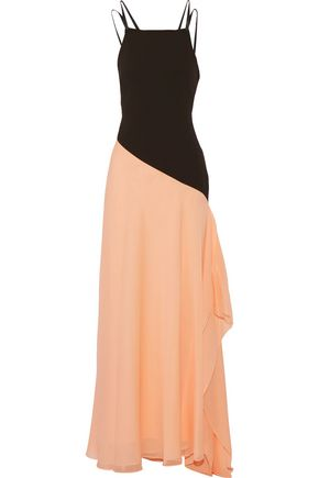 HALSTON HERITAGE Embellished leather-trimmed crepe and chiffon gown