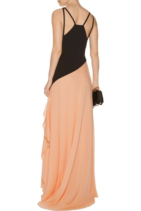 Embellished leather-trimmed crepe and chiffon gown   HALSTON HERITAGE   Sale  up to 70% off   THE OUTNET