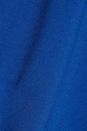 HALSTON HERITAGE Asymmetric satin-paneled stretch-crepe gown
