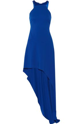 HALSTON HERITAGE Asymmetric satin-paneled stretch-crepe gown