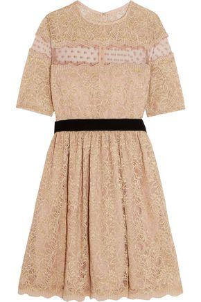 PERSEVERANCE Swiss-dot tulle-paneled corded lace mini dress