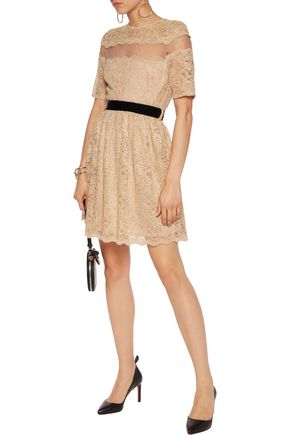 PERSEVERANCE Swiss-dot tulle-paneled corded lace mini dress