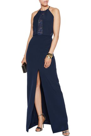 PERSEVERANCE Corded lace-paneled crepe gown