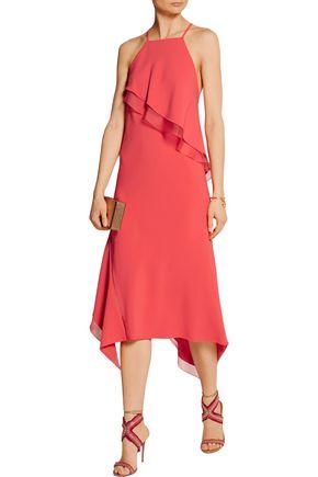 JASON WU Ruffled organza-trimmed stretch-cady dress
