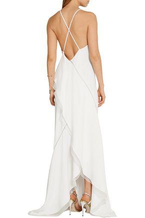 JASON WU Asymmetric silk-organza trimmed stretch-cady gown