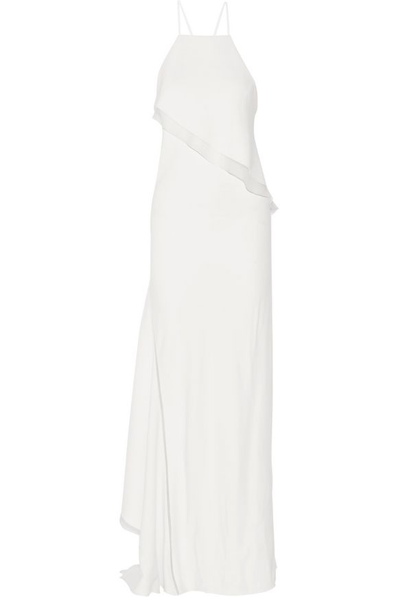 Asymmetric silk-organza trimmed stretch-cady gown | JASON WU | Sale up to 70%  off | THE OUTNET