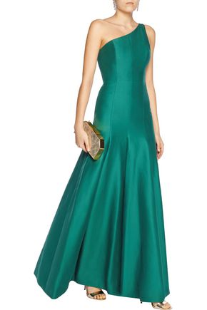 HALSTON HERITAGE One-shoulder cotton and silk-blend gown