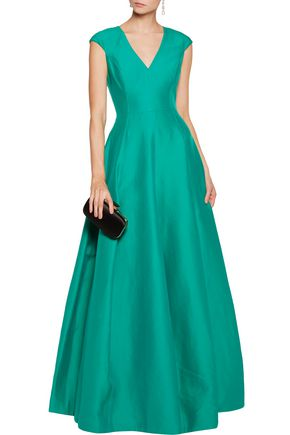 HALSTON HERITAGE Cotton and silk-blend faille gown