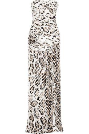 HALSTON HERITAGE Leopard-print plissé stretch-jersey gown